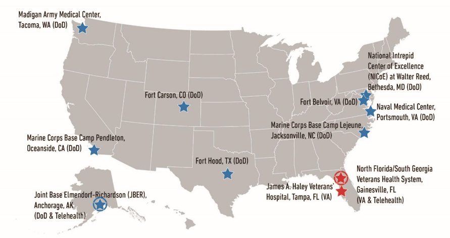 Map of Creative Forces sites across the USA