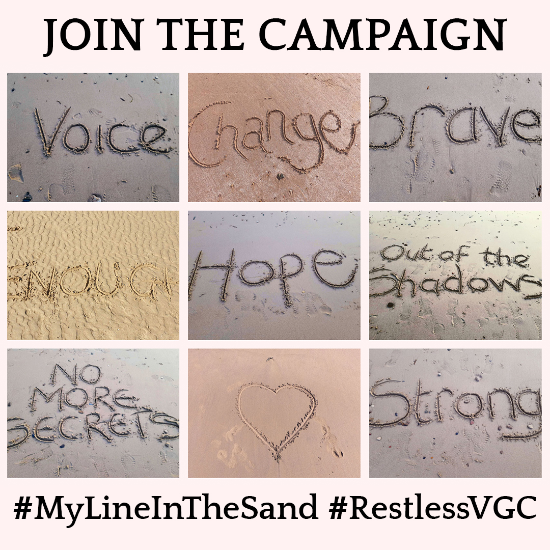 Campaining image for Line in the Sand with different pictures of lines in sand