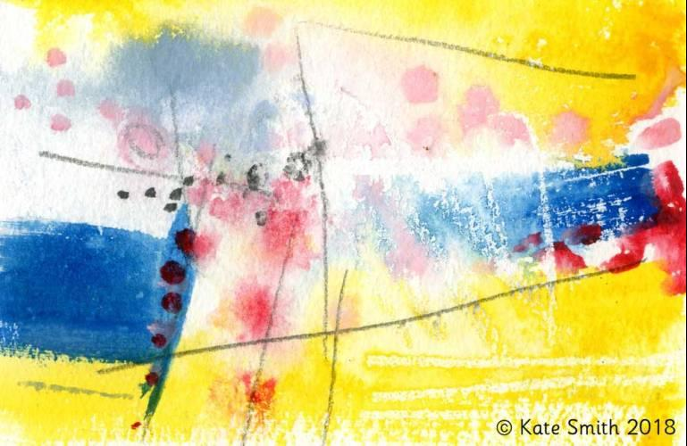 A brightly-coloured abstract paiting called Celebrating Psychosis, by Kate Smith