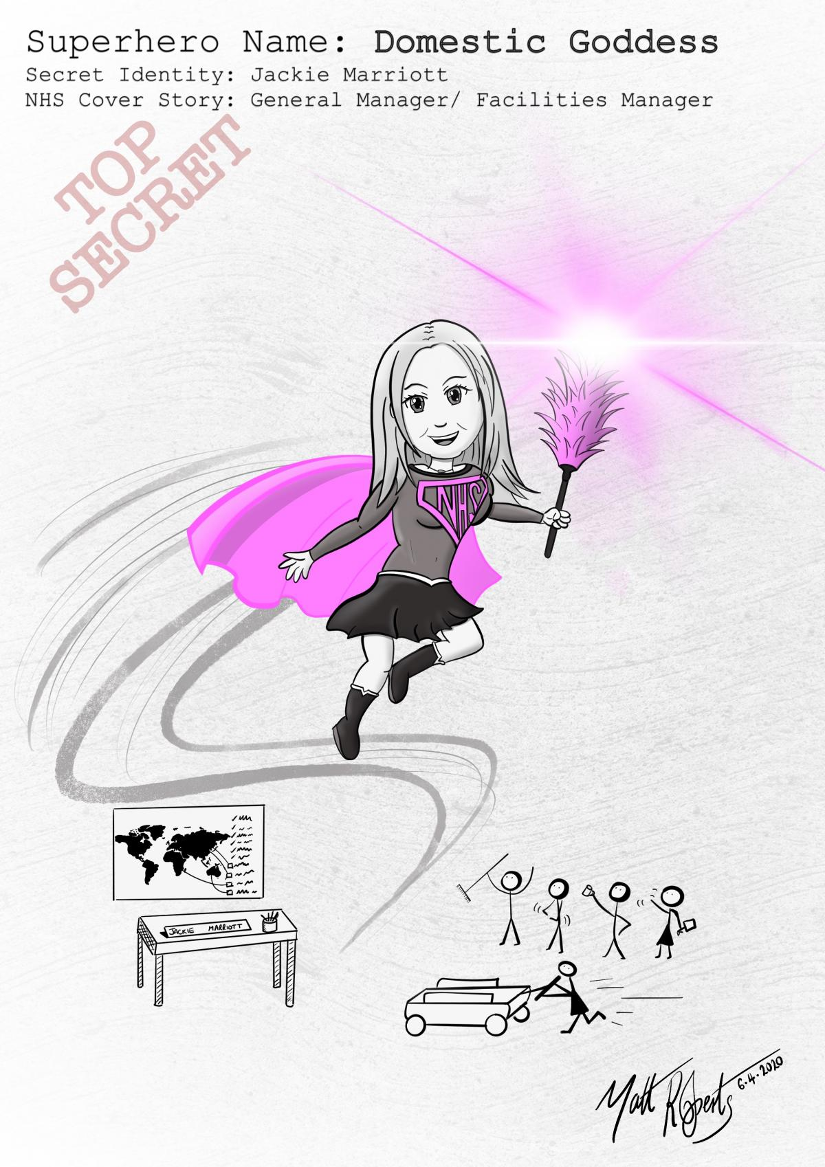 a cartoon of facilities manager Jackie Marriot as the superhero 'domestic goddess'