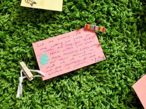 Messages left on the grass wall in 'Nature Calls' - the finale exhibition of Paintings in Hospitals 'Art in Large Doses' project - Photo by Glenn Michael Harper
