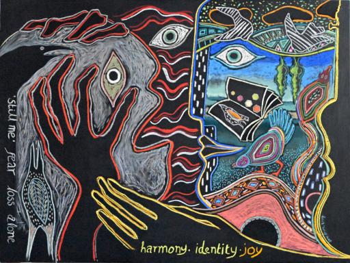 """D-iagnosis"", an image of two faces representing anguish after a dementia diagnosis, and the potential for engaging with the arts to create a more positive state of mind"