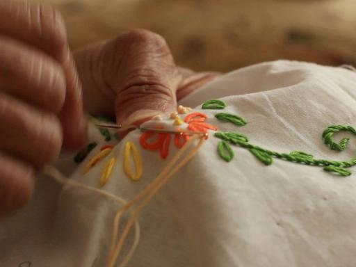 Close up of Mum's hand- embroidering